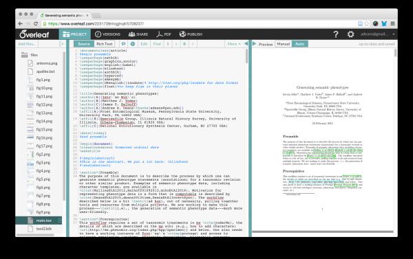 screenshot showing how Overleaf.com appears